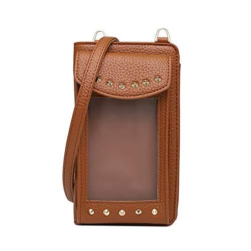 Vmokki Funda para móvil de hasta 6,5 pulgadas con tarjetero transparente para mujer, bolso de hombro pequeño, piel sintética Marrón marrón talla única