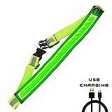AGPTEK LED Reflektierender Gürtel USB aufladbare LED – Hohe Sichtbarkeit für Laufen Wandern...