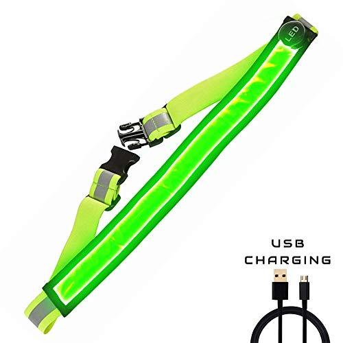 AGPTEK LED Reflektierender Gürtel USB aufladbare LED – Hohe Sichtbarkeit für Laufen Wandern Radfahren - Passend für Frauen, Männer und Kinder - Verstellbare und Leicht - sicherer als reflektierende (Grün)