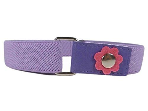 Olata Olata Elastischer Gürtel für Mädchen 1-6 Jahre, mit Blume Design - Fliede