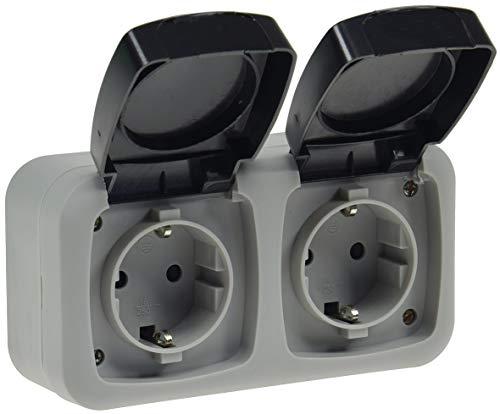 Preisvergleich Produktbild Doppel-Steckdose für Feuchtraum IP44 2-fach Aufputz 250V 16A Klappdeckel mit FederAutomatik und Schutzkontakt Grau