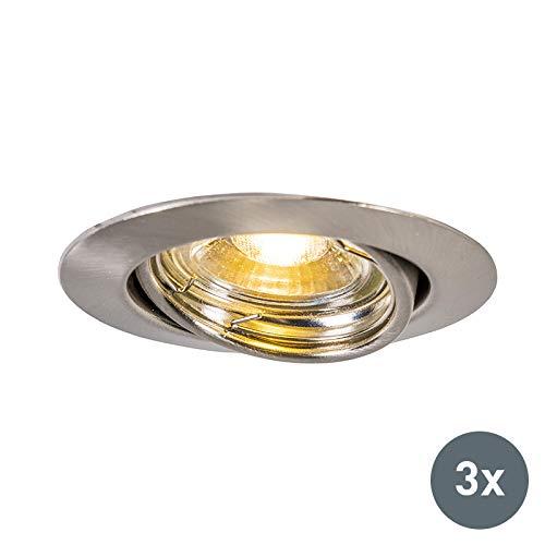 QAZQA Modern 3er Set Einbaustrahler inkl. GU10 kippbar - Edo/Innenbeleuchtung/Wohnzimmerlampe/Schlafzimmer/Küche Stahl Rund LED geeignet GU10 Max. 1 x 9 Watt