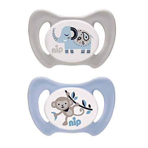 nip Dental-Schnuller Miss Denti: Erster Schnuller, der Beißdruck verteilt, in mehreren Größen, Made in Germany, BPA-Frei, Größe 3 - Grau & Blau