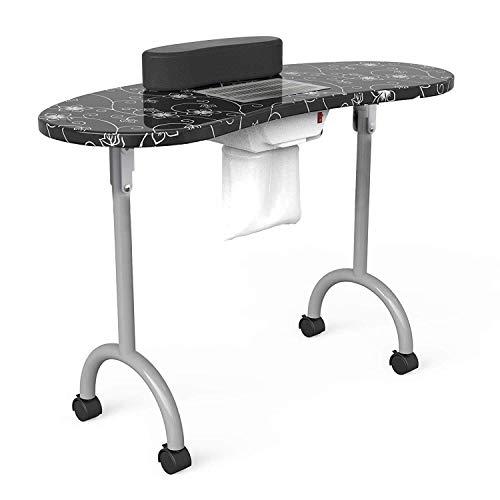 Manicure Nail Table- SUNCOO Portable Folding Station Desk Spa Beauty Salon With Rolling Wheels Fan Carry bag 35.4'14.5'28.7' (Black)