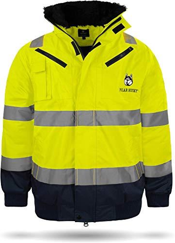 normani Warnschutzjacke Pilotenjacke Regenjacke Arbeitsjacke Gr. S - XXXXL Farbe Neongelb/Marine Größe XXL