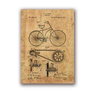 Fahrrad Kunstwerk Fahrrad Wandkunst Leinwand Malerei Poster Schlafzimmer Dekoration Kreative Wanddekoration 13x18cm