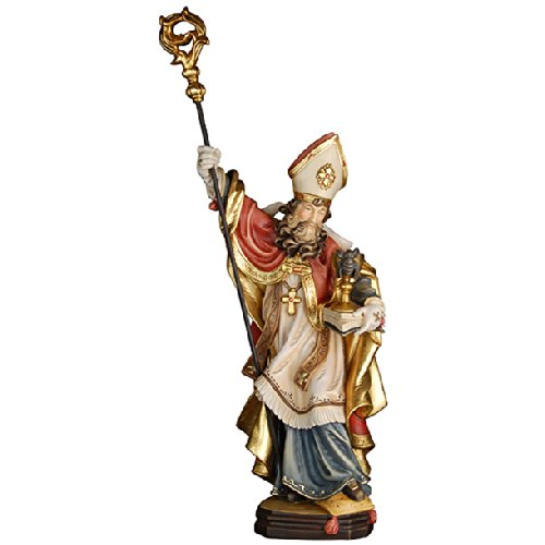 Demi Art - Heiligenfigur Hl. Konrad von Konstanz mit Buch Kelch und Spinne aus Berg-Ahorn Holz geschnitzt und von Hand bemalt, 30 cm