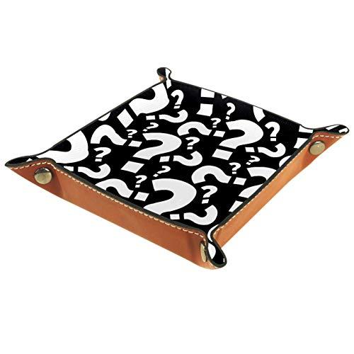 MUMIMI Plato cuadrado de cuero para mujeres y niñas, bandeja de joyería, patrón negro, regalo de cumpleaños para el día de la madre