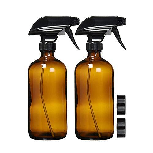 Paquete de 2 botellas de spray, botellas de vidrio ámbar, pulverizador de pulverización aspiradora, botella pulverizadora rellenable de 16 onzas para aceites esenciales,...