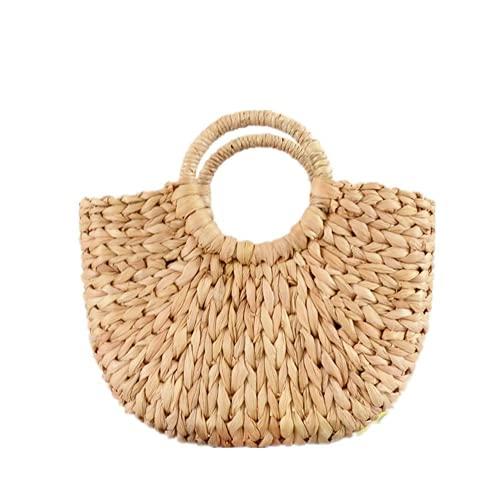 Einkaufstasche aus Strohhalm, solide Tragetasche mit Kordel, Bohème modische Tasche für Sommer und Urlaub, Strandtasche aus Mesh Mond, Sommertasche aus Strohhalm mit rundem Griff.