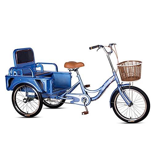 Triciclo per Adulti 20 Pollici Per Adulti Tricicli A 3 Biciclette In Acciaio Al Carbonio In Acciaio Al Carbonio Bicicletta Per Adulti Con Carrozzina Pieghevole / Seduta, Per Anziani, Donne(Color:Blue)
