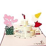 Ragazza della torta di compleanno che benedice la cartolina d'auguri stereo 3d