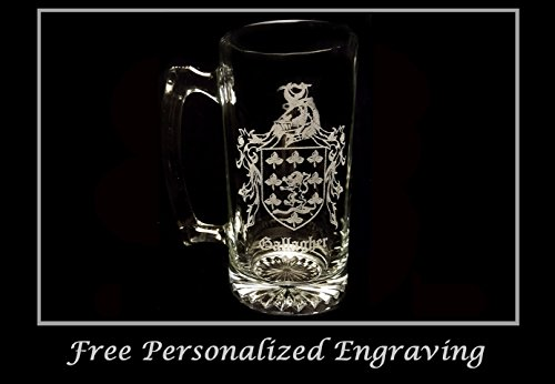 Gallagher Irish Family Coat of Arms 27oz Beer Stein: Free Shipping & Personalized Engraving, Family Crest, Etched Clan Crest