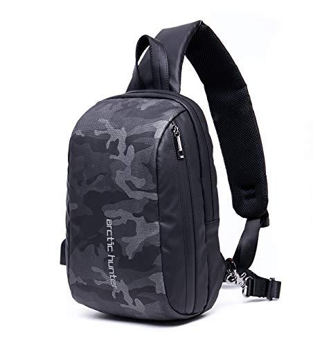 LC Prime Sling Bag, zaino casual con porta di ricarica USB, piccolo zaino compatto a tracolla, resistente all'acqua, per uomini e donne all'aperto, viaggi, adatto per tablet PC da 10 pollici (grigio)