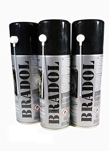 BRADOL ENGRASE Cadenas 400 ml. Pack 3 unidades. Lubricante para cadenas de motos y bicicletas. Spray transparente fluido especial para cadenas con retenes.