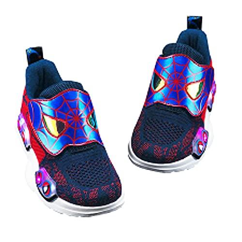 Baskets Enfants Lumineuses À LED Spiderman Chaussures Maille Respirante Clignotantes Garçon Fille D'araignée Casual Marche Légères,Purple-37 (Inner Length~24CM)