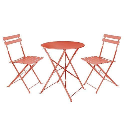LOLAhome Conjunto de Mesa y 2 sillas para Exterior de Acero (Coral)
