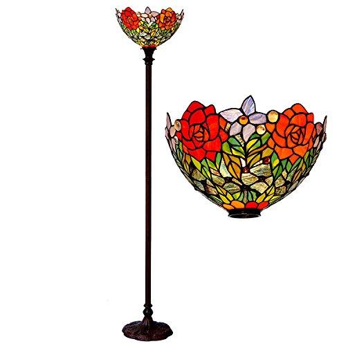 Bieye L30398 Tiffany-Stil getönte Glasfackel Stehlampe mit 15 Zoll Handbreite, Metallschirm für das Wohnzimmer Schlafzimmer, 72 Zoll Höhe, Rot Grün