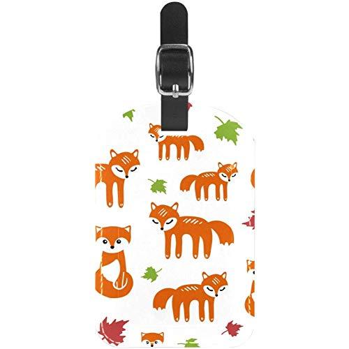 Etiquetas para Equipaje Etiquetas para Maletas de Viaje de Cuero sin Costuras Foxes y Hojas 1 Paquete
