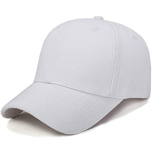 BMG Baseball Cap Männer Frauen, Solid Color Adjustable Sports Cap Curved Sonnenblende Fit Für Die Jugend Jungen Pferdeschwanz Damen Dad Tennis-Golfball-Hut,Weiß