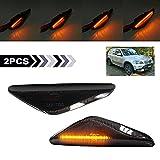 Luz de señal de giro dinámica LED indicador lateral repetidor lateral luz intermitente marcador lateral secuencial compatible con BMW E70 E71 X5 E72 X6 F25 X3 2007-2012 lente ahumada