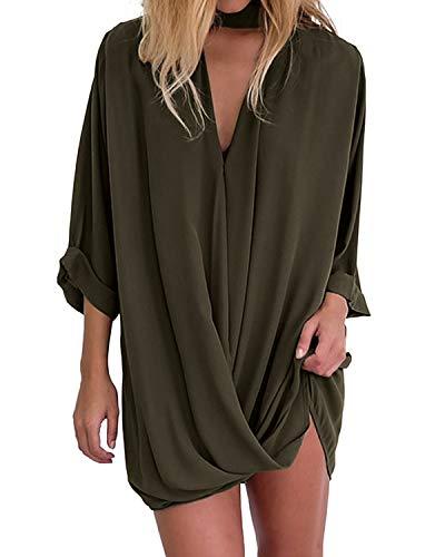 Auxo Damska bluzka z dekoltem w serek, z długim rękawem, krój slim oversize, luźna bluzka