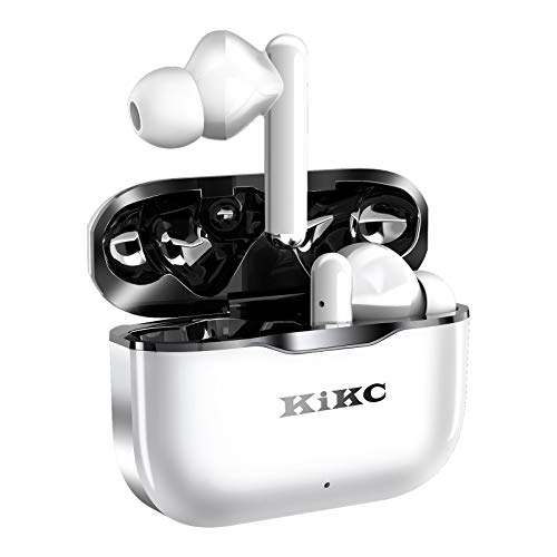 Wireless Earbuds, JAKO Bluetooth Headphones 5.0 in-Ear Stereo Wireless Earphones with Built-in Microphone Single/Dual Mode, Suitable for Sports Black in White Super bass