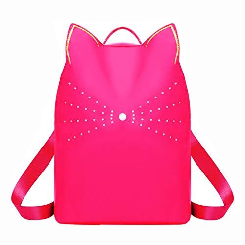 fhdc Mochila Señoras De Las Mujeres del Gato Mochila Niñas Moda Cat Estudiante Mochilas Escolares Mochilas De Hombro Paquete 12 Pulgadas De Color Rosa Caliente
