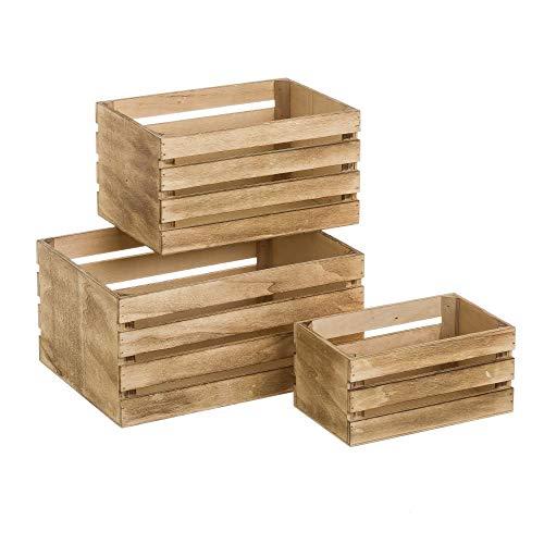 Set de Cajas de Fruta de Madera marrón rústico para decoración Bretaña - LOLAhome