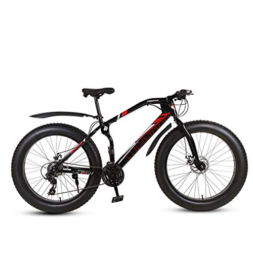 ZKHD 27-Speed Fat Tire Mountain Bike, 26-Inch Wheels, Dual Disc Brakes, Bionic Suspension Front Fork, Bionic Frame Design,Black