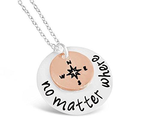 Rosa Vila No Matter Where Necklace, Compass Necklace For Women, Long Distance Friendship Necklace, Compass Jewelry for Women, Best Friends Necklaces