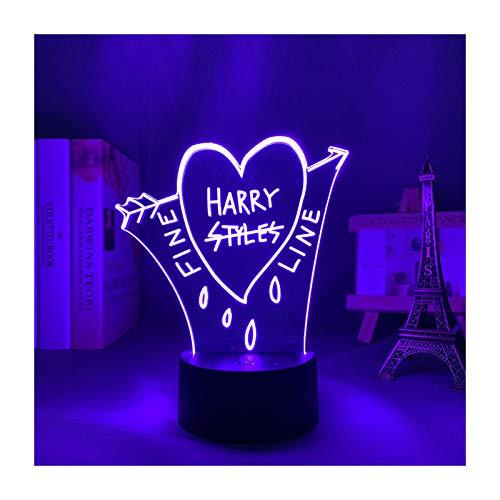 3D Led Versión Mejorada Harry Styles Luz De Noche Ventilador Regalo Decoración De Dormitorio Lámpara De Mesa Sensor Táctil USB Trabajo 16 Colores Cambio De Color De Luz Boy Girl Bar Luces De F