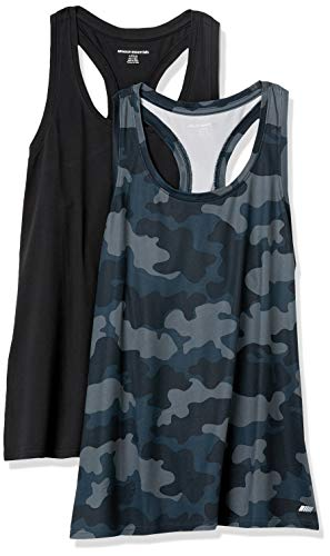 Amazon Essentials 2-Pack Tech Stretch Racerback Tank Top Denim-Outerwear-Vests, Schwarz/Grau Camo, 36-38, 2er-Pack