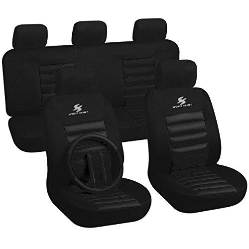WOLTU 7267 Set Completo di Coprisedili Auto 5 Posti Seat Cover Donna Protezioni Universali per Macchina Tessuto Poliestere Nero