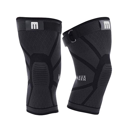 Mava Sports Knee Compression Sleeve Support with Adjustable Strap for Men and Women - Perfect for Powerlifting, Weightlifting, Running, Gym Workout, Squats and Pain Relief (Active Black,XX-Large).