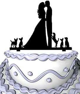Meijiafei Wedding Cake Topper Silhouette Groom and Bride Kissing Couple with Five Dogs, Rustic Wedding Cake Topper