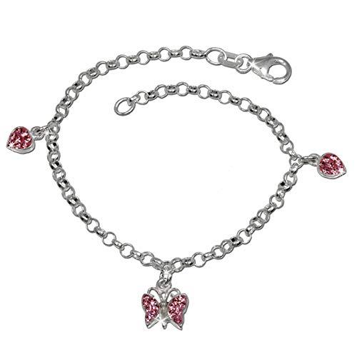 SilberDream Schmetterling, Herzen Armband rosa 16cm Kinder 925er Silber SDA030P