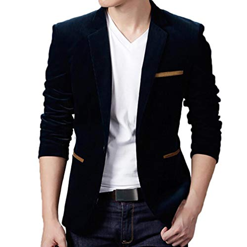 SPE969 Corduroy Men's Coat Suit Autumn Winter Casual Slim Long Sleeve Jacket Blazer Top Navy