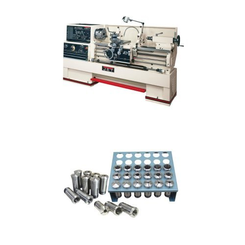 JET GH-1440ZX Lathe with NE DP700L DRO 2 AX With TAK and CLLT with Premium 35 Piece 5-C Collet Set With Rack (1/32nd)