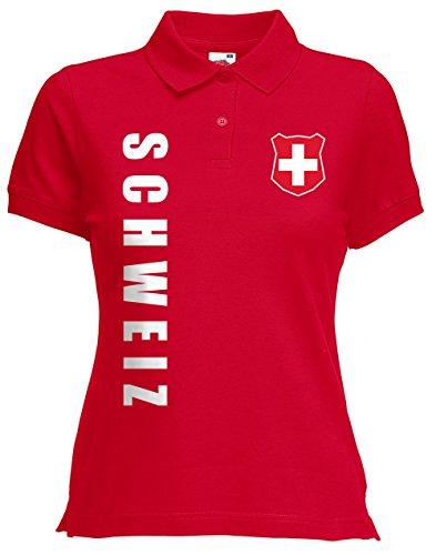 Schweiz Suisse Damen Polo-Shirt Name Nummer EM-2021 Trikot Rot XL