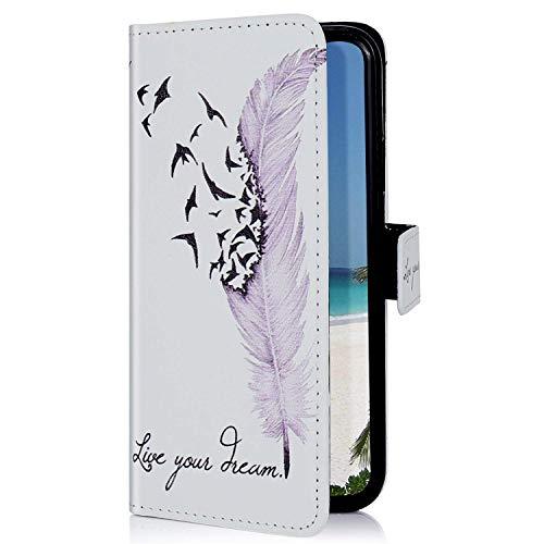 Uposao Kompatibel mit Samsung Galaxy A71 Hülle Leder Tasche Bunt Muster Handyhülle Brieftasche Klapphülle Wallet Flip Case Tasche Schutzhülle Ständer Kartenfächer,Vogel Feder