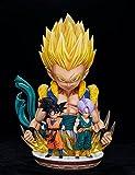 50Cm Figura De Anime Dragon Ball Estatua Super Saiyan Goten Fusion Gotenks Trunks Led Resina PVC Figura De Acción Manga Box Merch Juguete Modelo Decoración De Habitación Niños