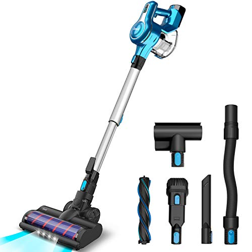 INSE Cordless Vacuum Cleaner, 23KPa Powerful Suction Stick Vacuums, Handheld Bed Vac Rechargeable 2500mAh for Pet Hair Hardwood Floors Carpet Car- S6