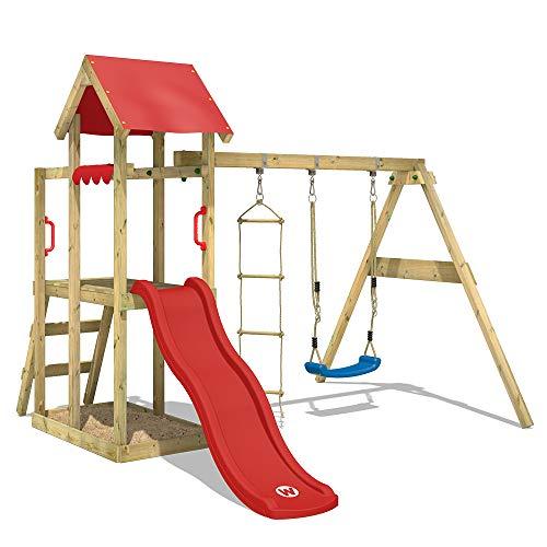 WICKEY Spielturm Klettergerüst TinyPlace mit Schaukel & roter Rutsche, Spielhaus mit Sandkasten & Strickleiter