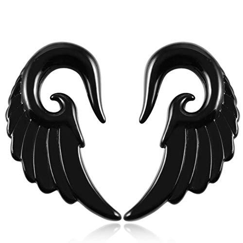 YZRDY 2pcs Alas del Ángel De Acrílico del Oído De La Forma Cónica De La Joyería Negro Espiral Gris del Oído del Enchufe De La Forma Cónica Camilla Piercing del Ampliador del Oído Accessories