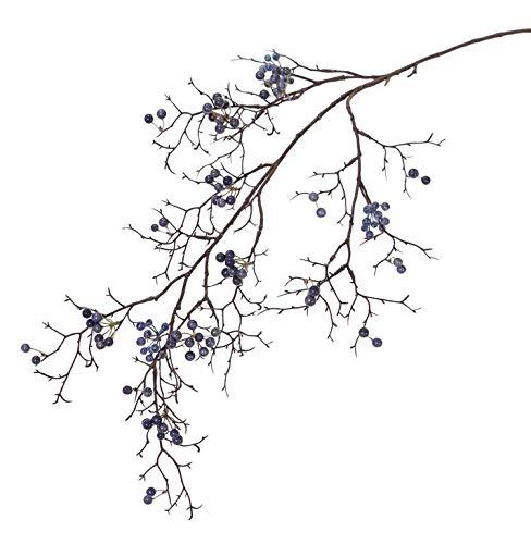 artplants.de Set 6 x Ramas sintéticas de Baya de Nieve Textil GESA con Bayas, Azul, 100cm - Pack de Ramas con Bolitas de Nieve - Planta Artificial