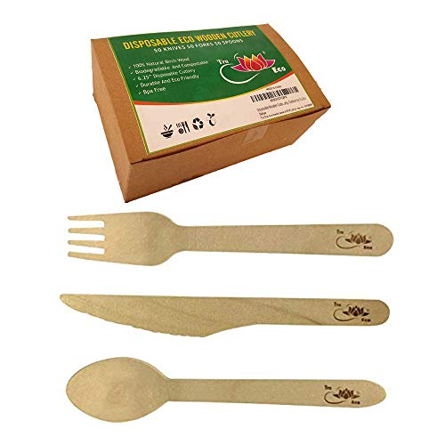 Disposable Wooden Cutlery Set (150-Count) Knives, Forks, Spoons | Heavy-Duty, Ecofriendly Utensils | BPA Free, Biodegradable, Compostable | Single Use, Stop The Spread