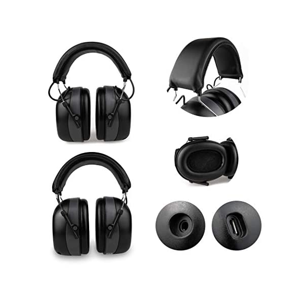 NRR 31dB Original EARMUFF with Bluetooth and AUX in Cable in- Extra Tough Radio Ear Protection Headphones with Built-in Battery
