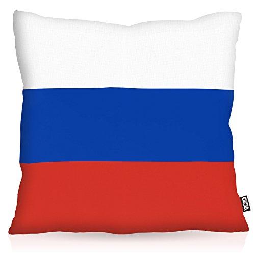 VOID Russland Russia Polyester Kissenbezug Flagge Fahne Fan-Kissen Kissenhülle Outdoor Indoor Bunt, Kissen Größe:50 x 50 cm