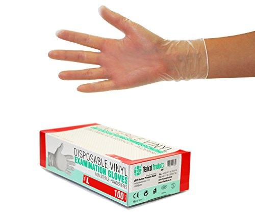 Vinylhandschuhe 1000 Stück 10 Boxen (L, Transparent) Einweghandschuhe, Einmalhandschuhe, Untersuchungshandschuhe, Vinyl Handschuhe, puderfrei, ohne Latex, unsteril, latexfrei, disposible gloves